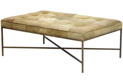 the jonathan ottoman is a simple tufted upholstered ottoman with a slender metal base shown in antique silver priced as shown - Upholstered Ottoman