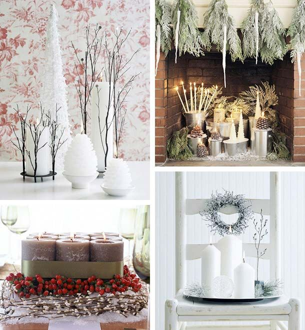 interiors of homes decorated for christmas - Candles Home Decor