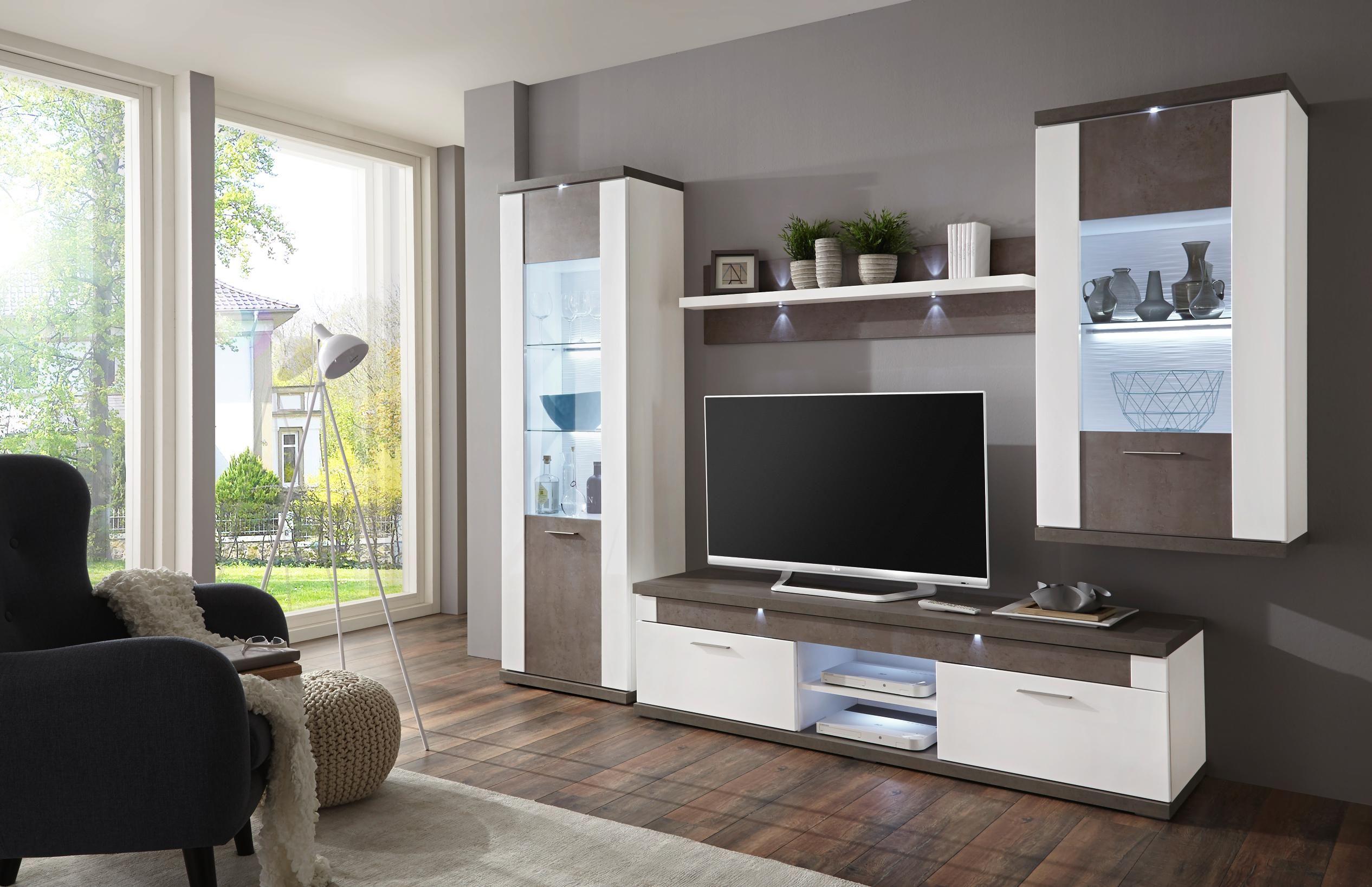Wohnwand In Grau Weiss Von Xora Wohnen Wohnung Wohnzimmer