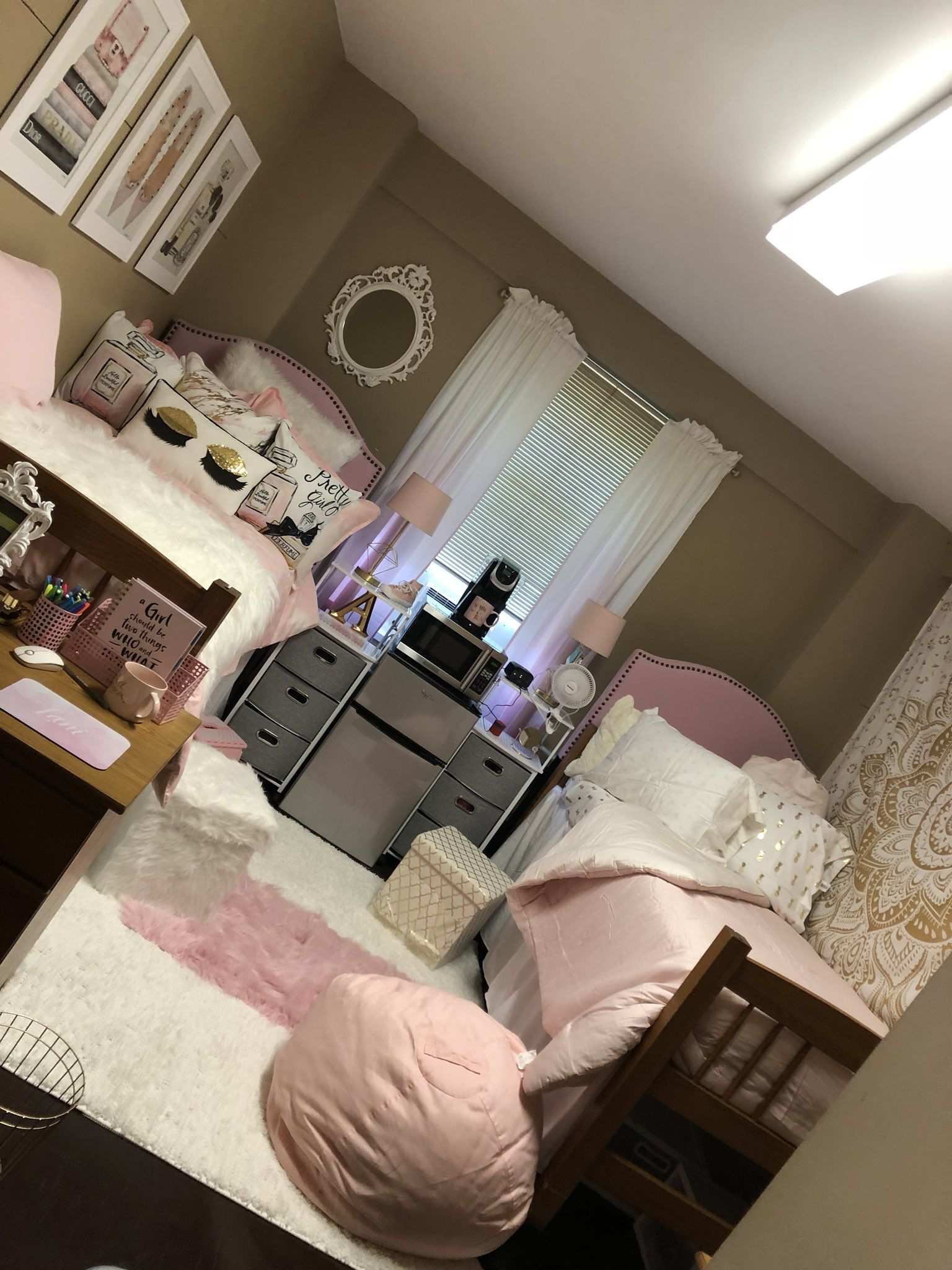 Cute Pink White Gold Dorm Room Uncg College College Dorm Room