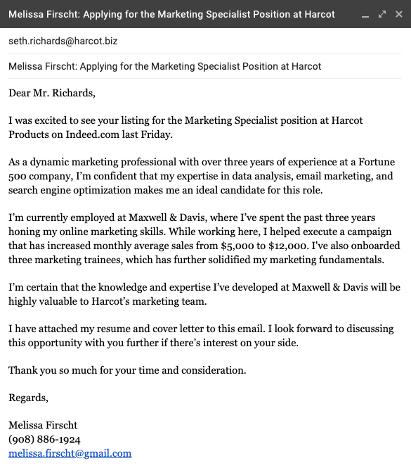 emailing resume to recruiter sample
