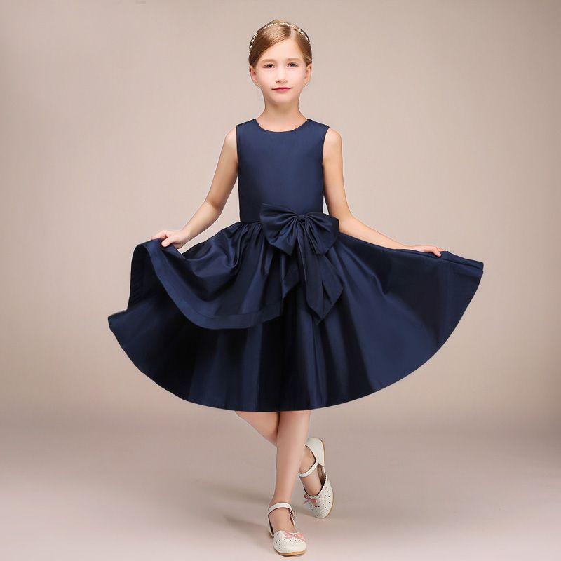 navy blue flower girl dresses long
