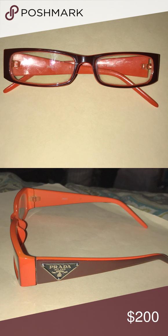 59dd9c5fa69a Frames are orange and dark brown. Lenses are rectangular and non  perception. These are authentic Prada glasses. Prada Accessories Glasses