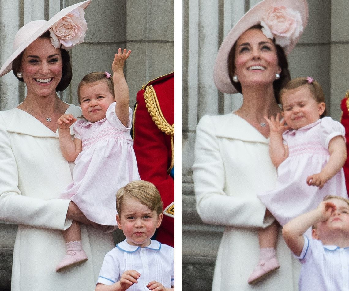 Young Charlotte tried out her royal wave before covering her ears as the loud planes flew overhead of Buckingham Palace. Trooping the Colour June 11, 2016.