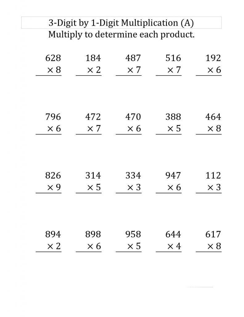 2 Four Grade Math Worksheets 4th Grade Multiplication Worksheets   Multiplication  worksheets [ 1024 x 791 Pixel ]