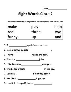 Sight Words Cloze Sentences | Favorite places and spaces | English