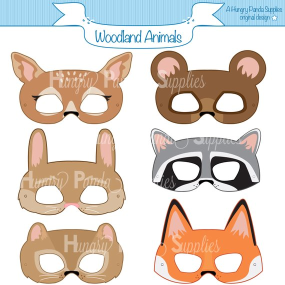 graphic relating to Fox Mask Printable named Woodland Forest Pets Printable Masks, woodland animal