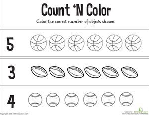 count 39 n color the numbers 1 5 worksheets kindergarten math worksheets sports theme. Black Bedroom Furniture Sets. Home Design Ideas