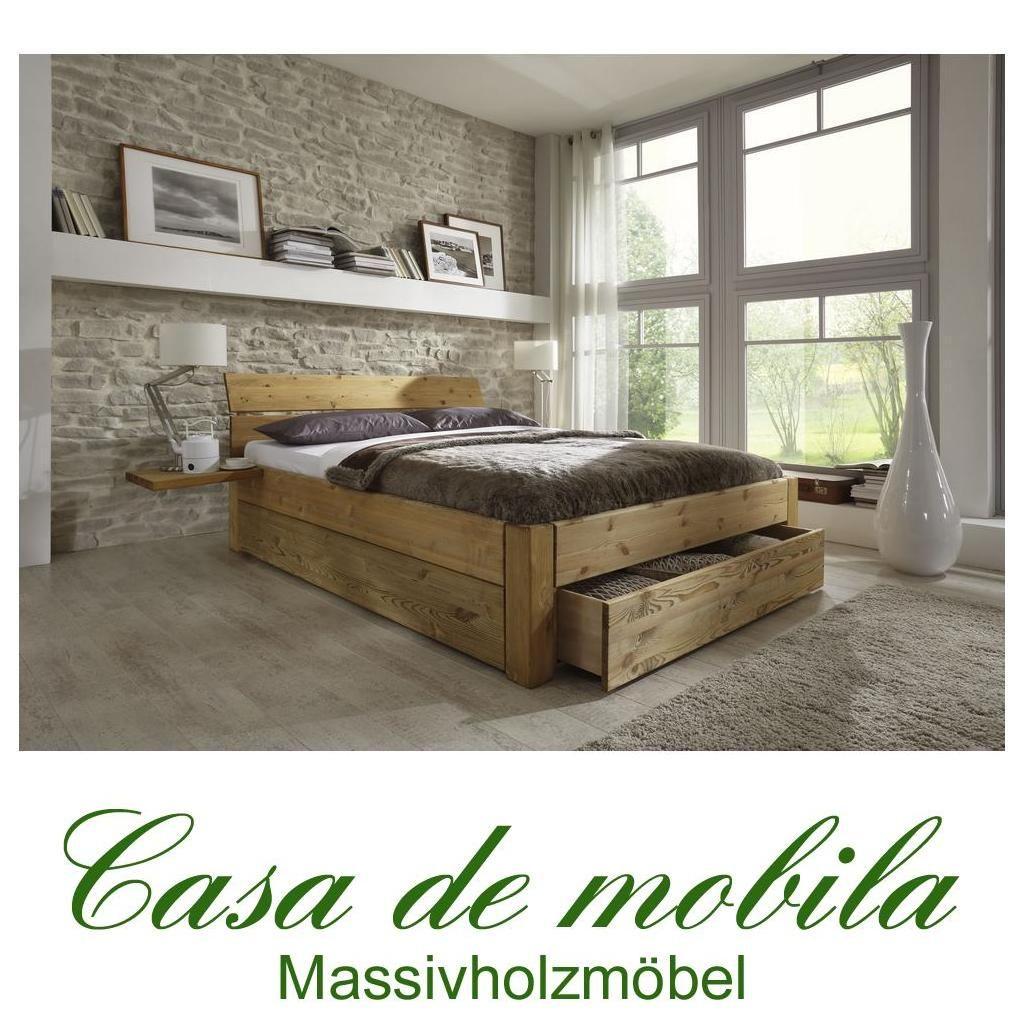 Massivholz Schubladenbett 160x200 Holzbett Bett Kiefer Massiv