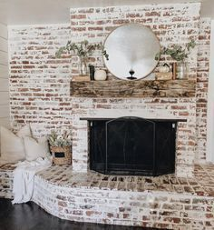 Amazing DIY Brick Walls Ideas #whitebrickfireplace