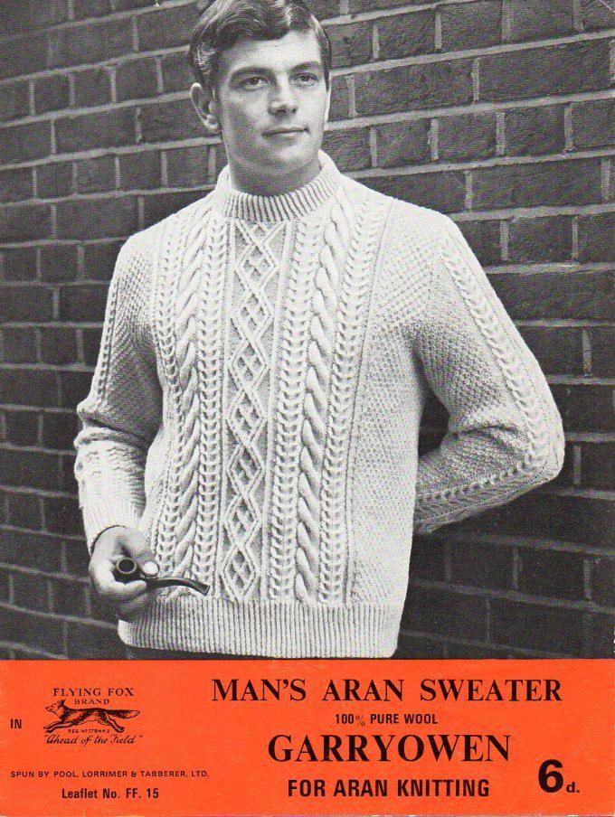 Mens Aran Sweater Knitting Pattern Pdf Mens Aran Jumper Crew Neck