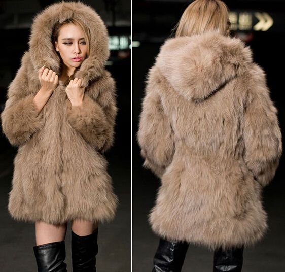 Colorful Faux Fur Coat Thick Warm Fur Hooded Ladies Jacket Outwear Fake Fox Feat