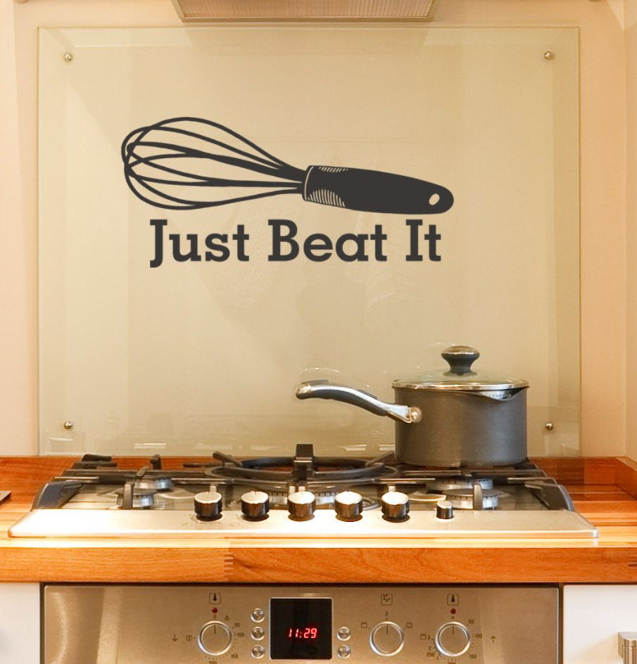 Just Beat It Vinyl Decal Words With Whisk Utensil, Kitchen Decor, Bakery,  Novelty