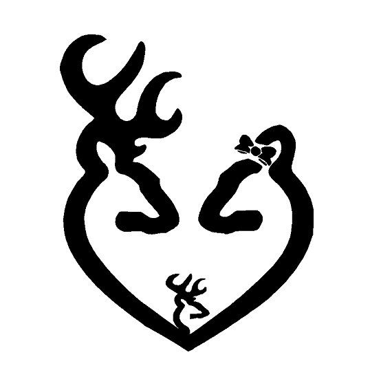 6 Inch Browning Heart Buck Doe With Bow And Baby By Cafedecals 5 00 For The Boy Couple