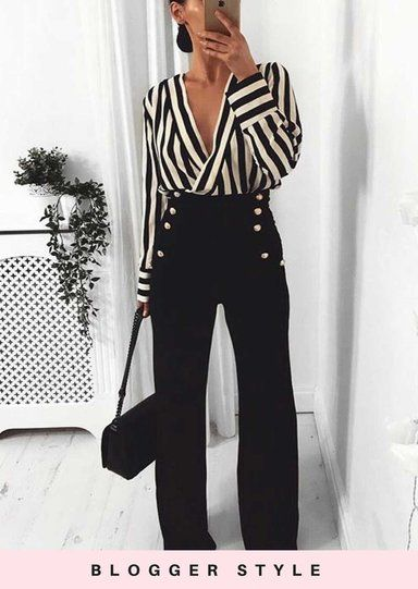 Stripe Wrap Over Shirt Style Bodysuit Black #businesscasualoutfits