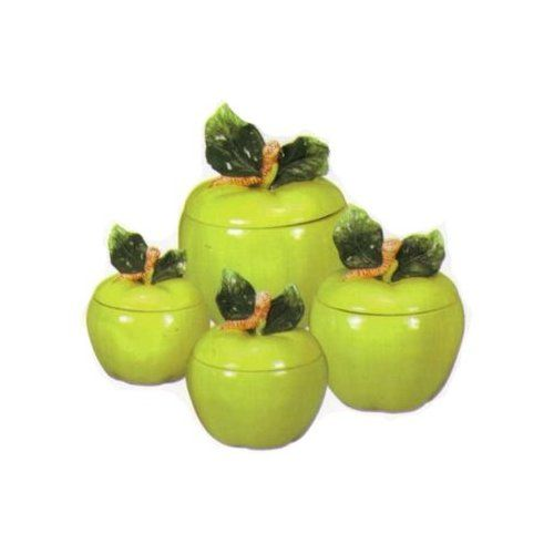Amazon Com Green Apple Ceramic Canister Set Kitchen Storage And Organization Product Sets Apple Kitchen Decor Green Apples Decor Pineapple Kitchen Decor