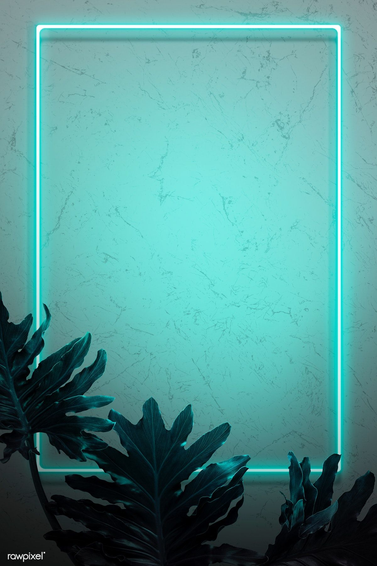Green neon lights frame with tropical leaves mockup design ...
