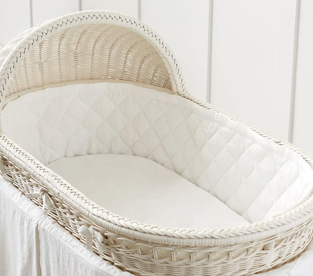 Baby Bassinet Linen White Cotton Bassinet Fitted Sheet Bassinet Pottery Barn
