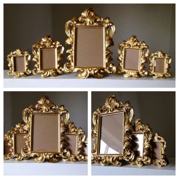 Set Of 5 Gold Ornate Baroque Picture Frames Easel Back Wedding Sign Place Card Shabby Chic