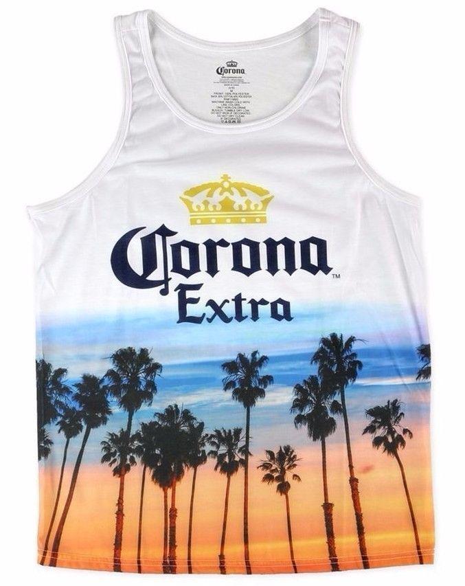 4bb4a063224bb9 New 20 CORONA EXTRA TANK TOP Palm Tree Beer Orange Blue Beach T-Shirt MEN  MD LRG  Corona  Tank