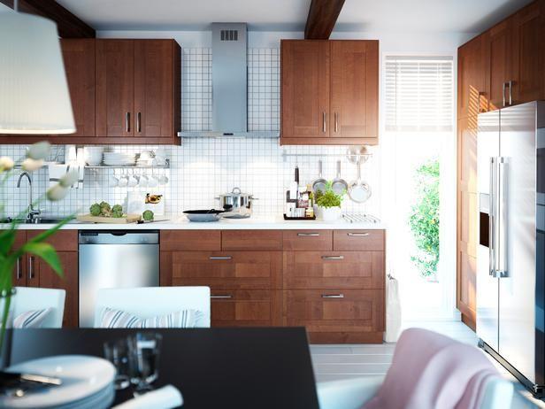 Image Result For Ikea Grimslov Medium Brown Kitchen Design Small Brown Kitchen Cabinets Luxury Kitchen Design