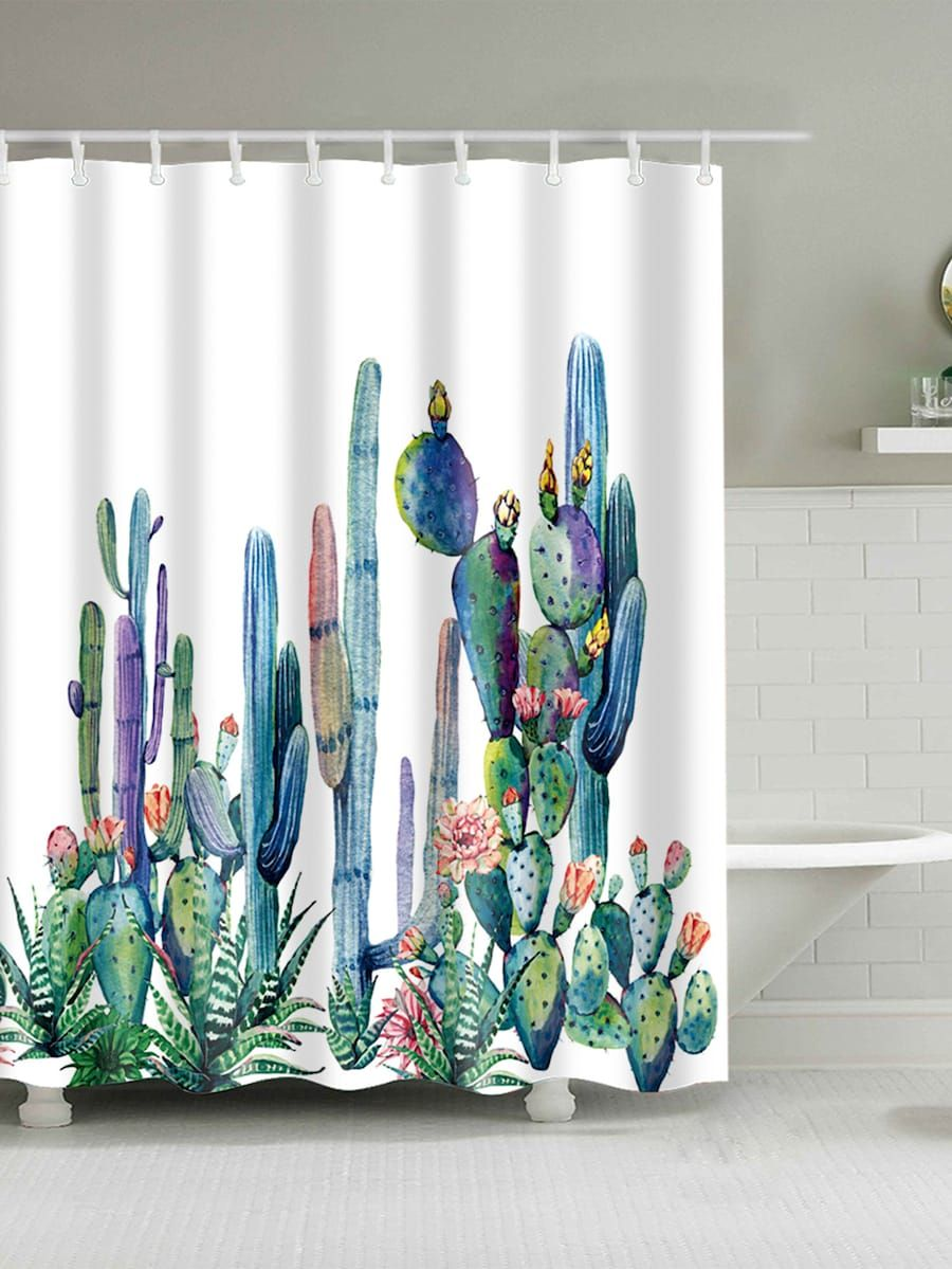 Cactus Shower Curtain With Hook 12pcs Shein Sheinside With
