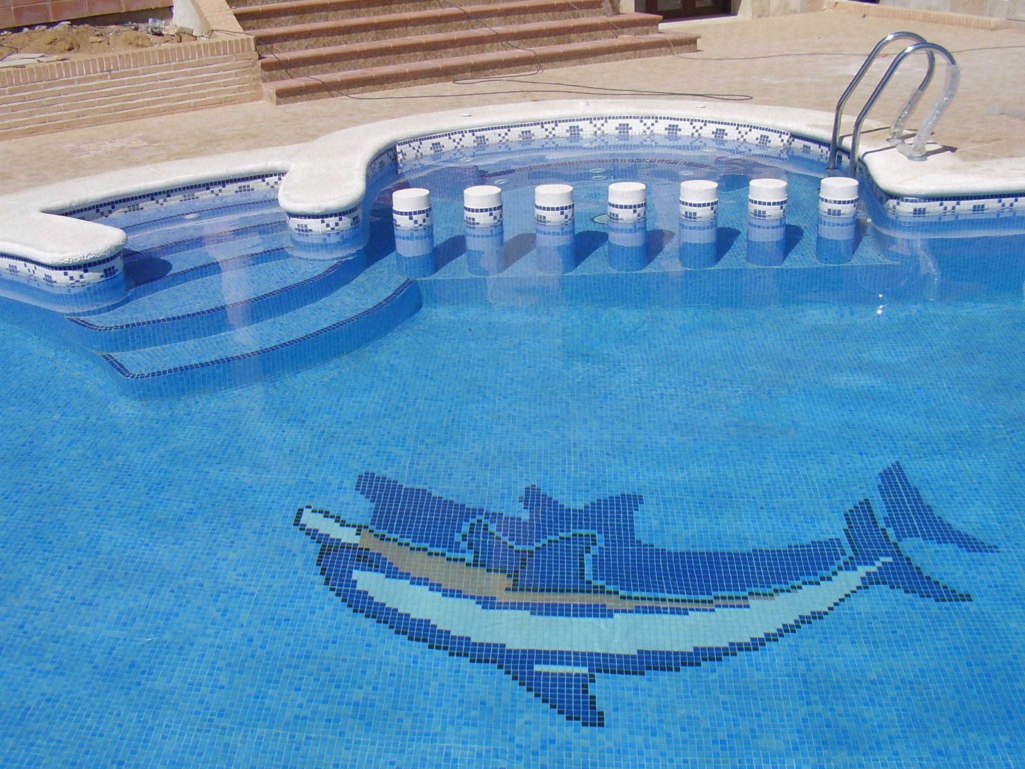 piscina con forma de ri n con spa adosado y motivo de