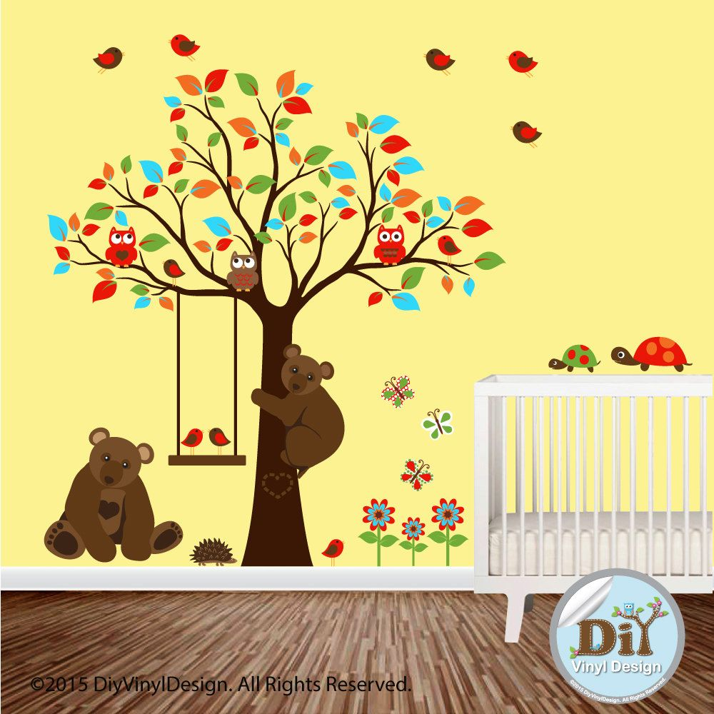 Red Orange Blue Green Forest Vinyl Wall Decal - Owl Theme - Tree ...
