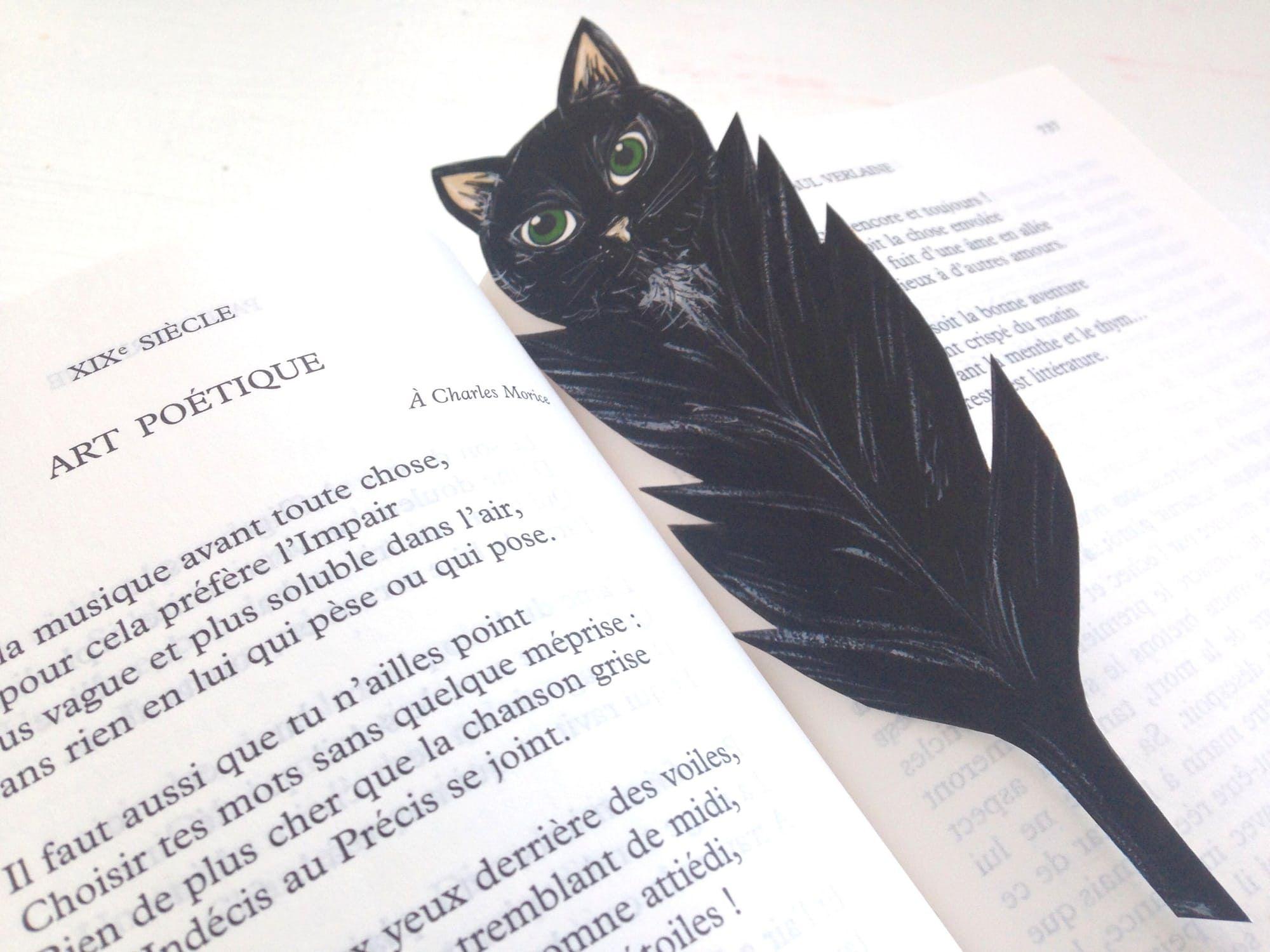 Marque page en forme de plume : chat noir ou chouette blanche au