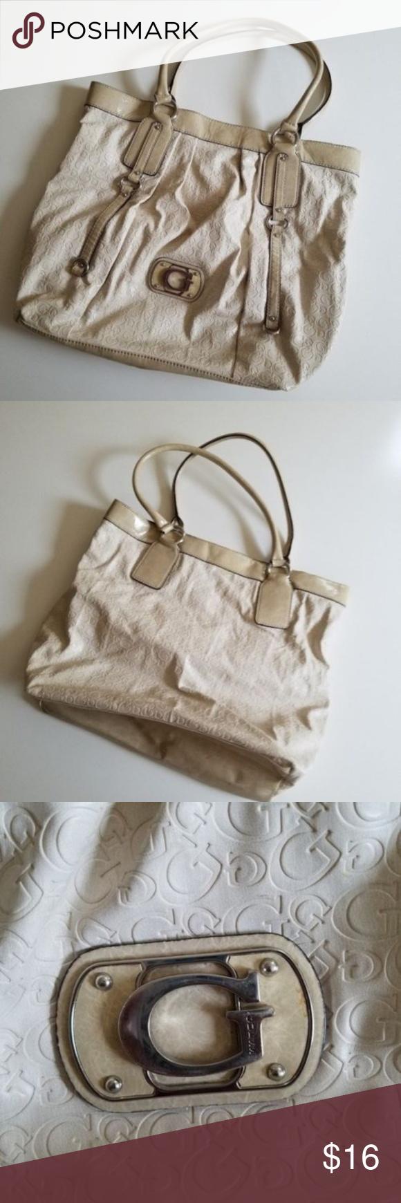 Guess Women s Cream Handbag Tote Bag Shoulder bag Guess Cream Color Tote Bag.  Vinyl with 5aab75f5b5981
