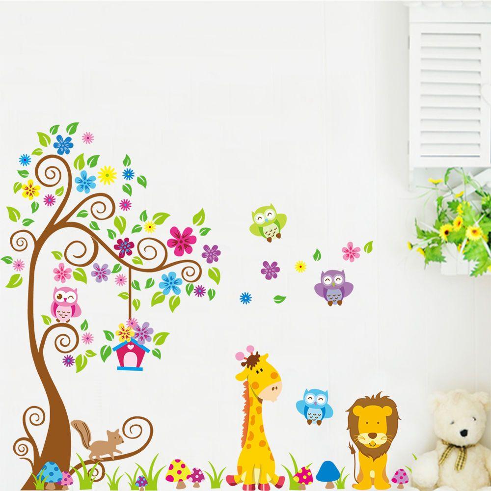 Wandtattoo Wandsticker XXL Deko Tiere Kinder Eule Wald Löwe Kinderzimmer  Baum