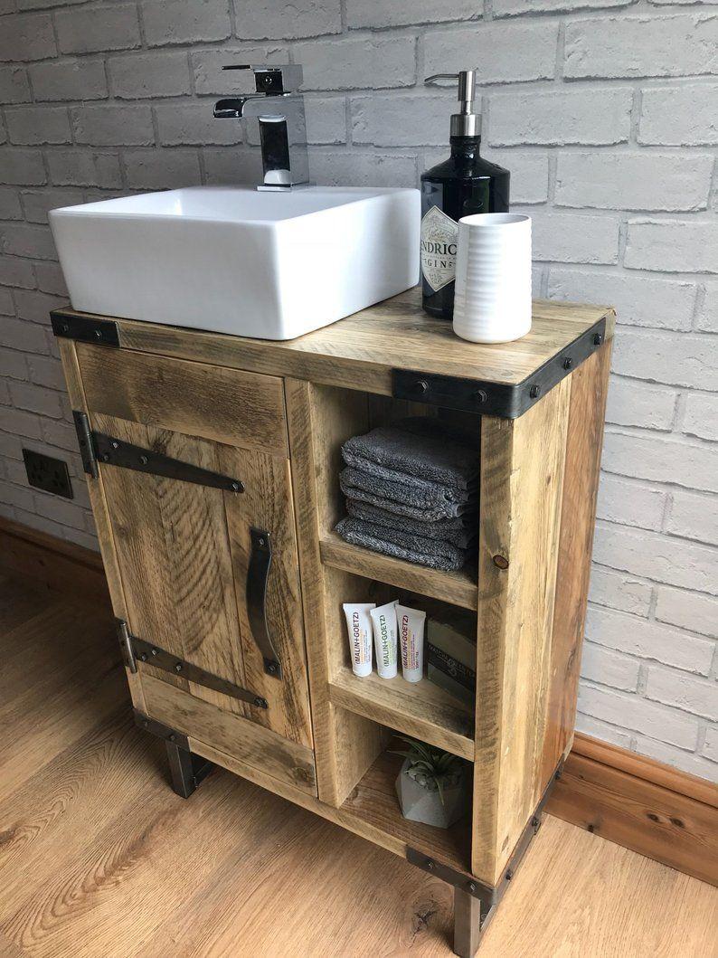 Reclaimed Rustic Industrial Vanity Unit With Sink Etsy Ideias Para Banheiro Balcao Para Banheiro Remodelagem De Banheiro