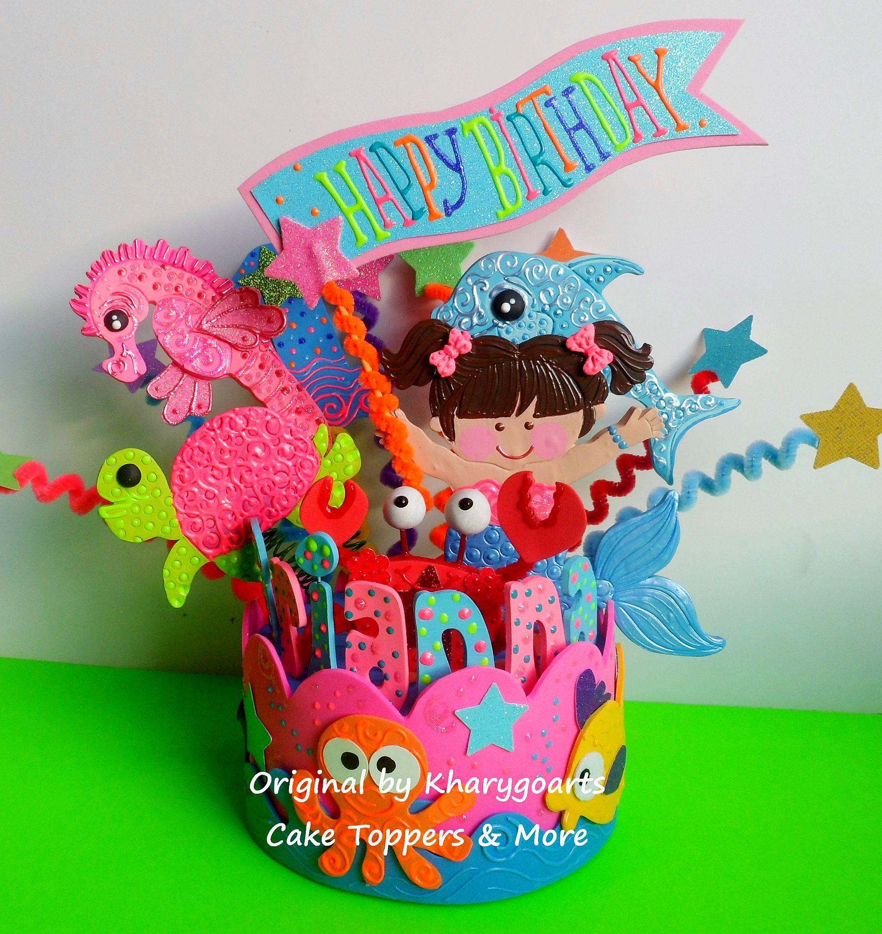 Mermaid theme birthday caketop mermaids birthday party pinterest