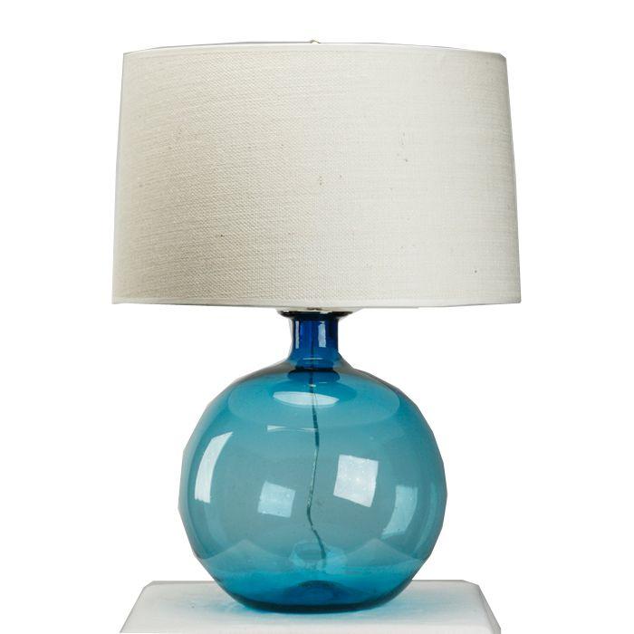 Gorgeous Shade Of Blue Handblown Aqya Blue Lamp A  White Shaded