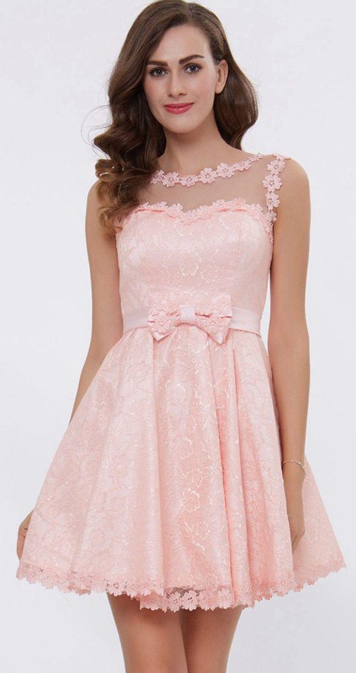 Dressv pink a line lace up cocktail dress boat neck above knee lace