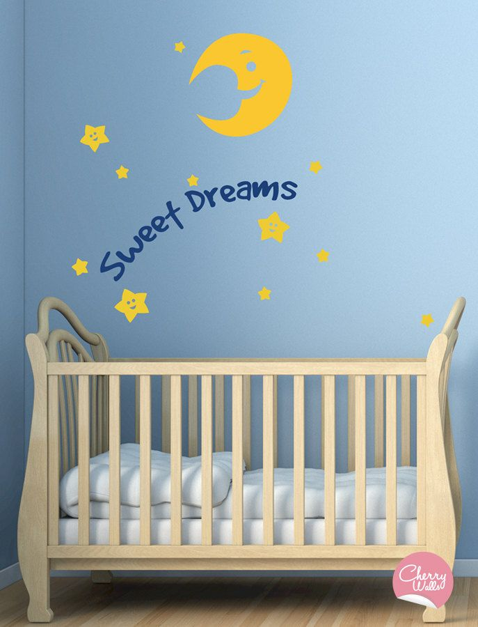 Baby Nursery Decor Wall Decal. Sweet Dreams with the Moon ...