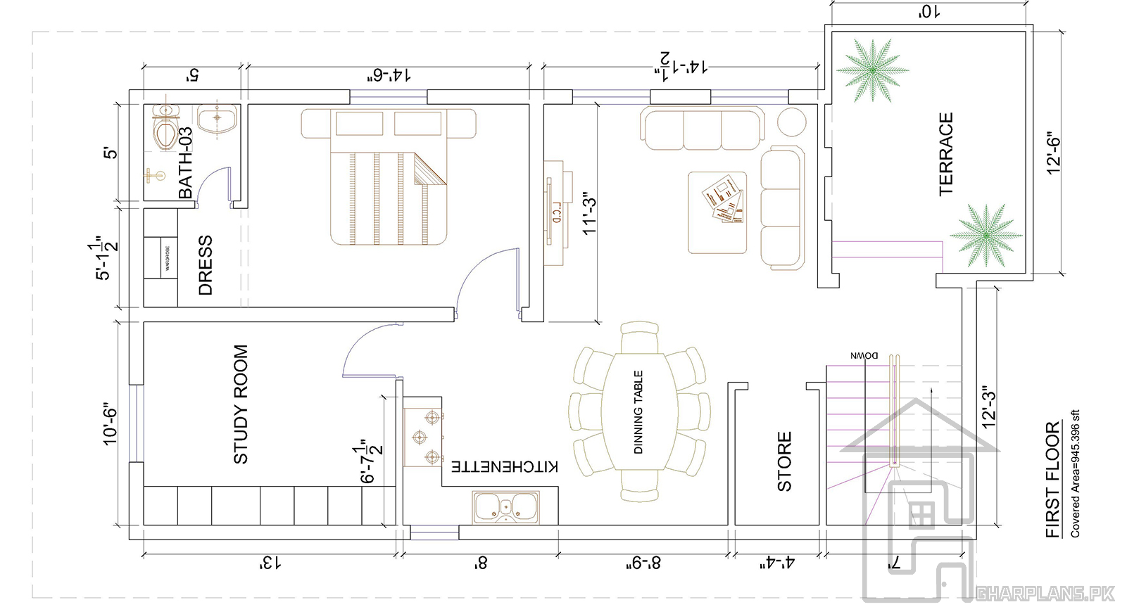 Floor Plan For The First Floor Of 7 Marla House The Floor Plan Includes One Bedroom With Attached Ba House Floor Plans Mansion Floor Plan Basement House Plans