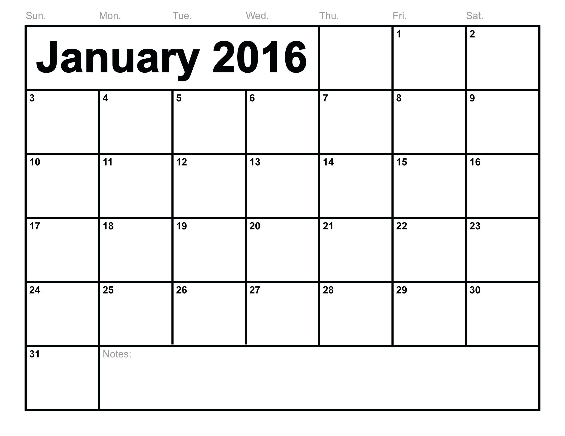 January Printable Calendar Template