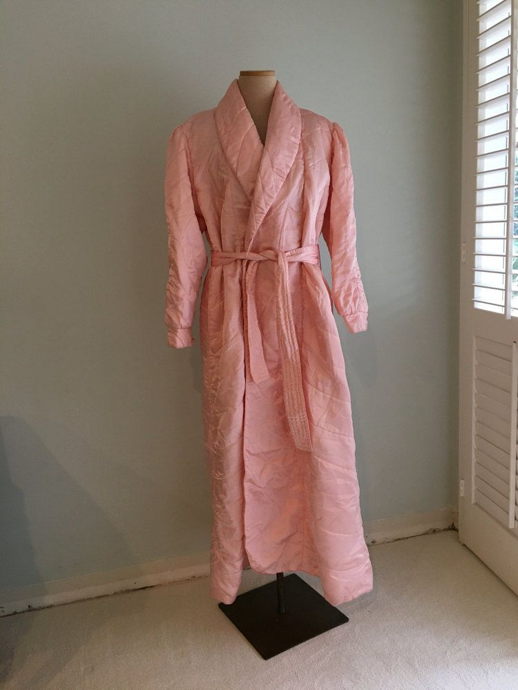 Vintage quilted satin robe women L large/50s by MadCrushVintage ... : quilted satin robe - Adamdwight.com