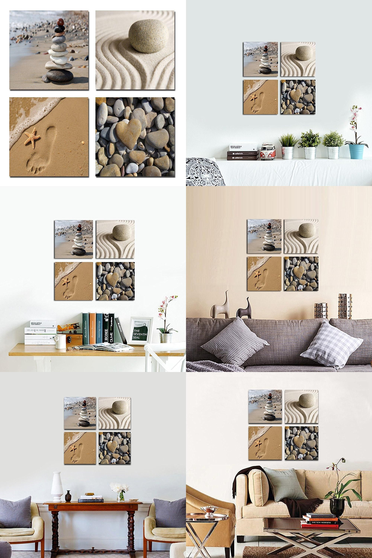 Visit To Buy Romantic Beach Theme 4 Panels Modern Beach Ocean