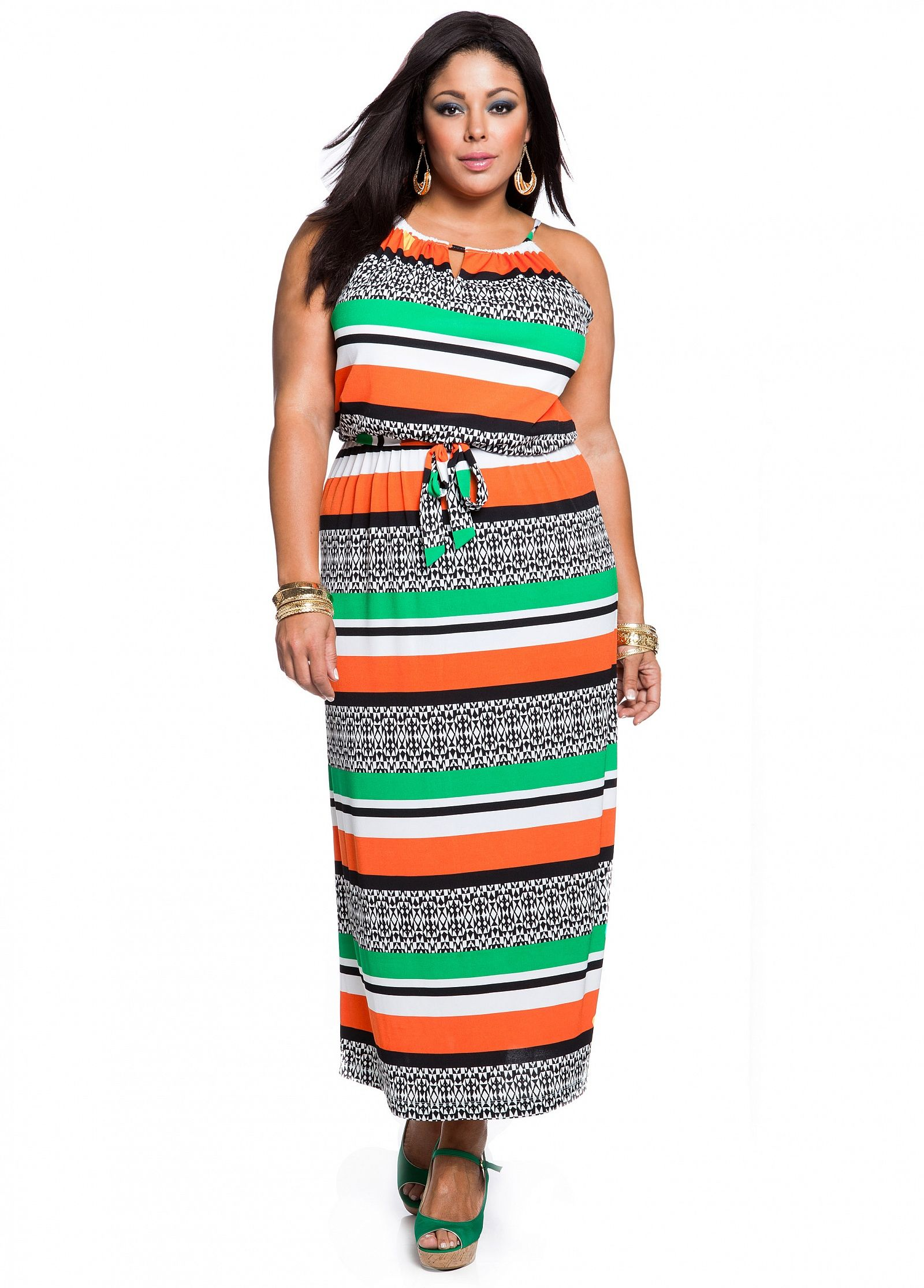 ashley stewart: striped tribal print plus size maxi | best dressed