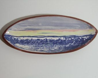 Tableware, terracotta, handpainted in seascape design, dining, gift - Edit Listing - Etsy
