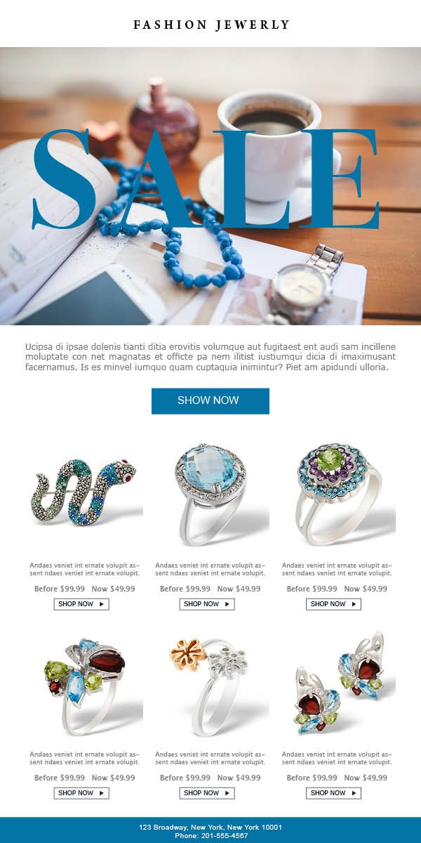 sale e commerce email marketing template for jewelry stores