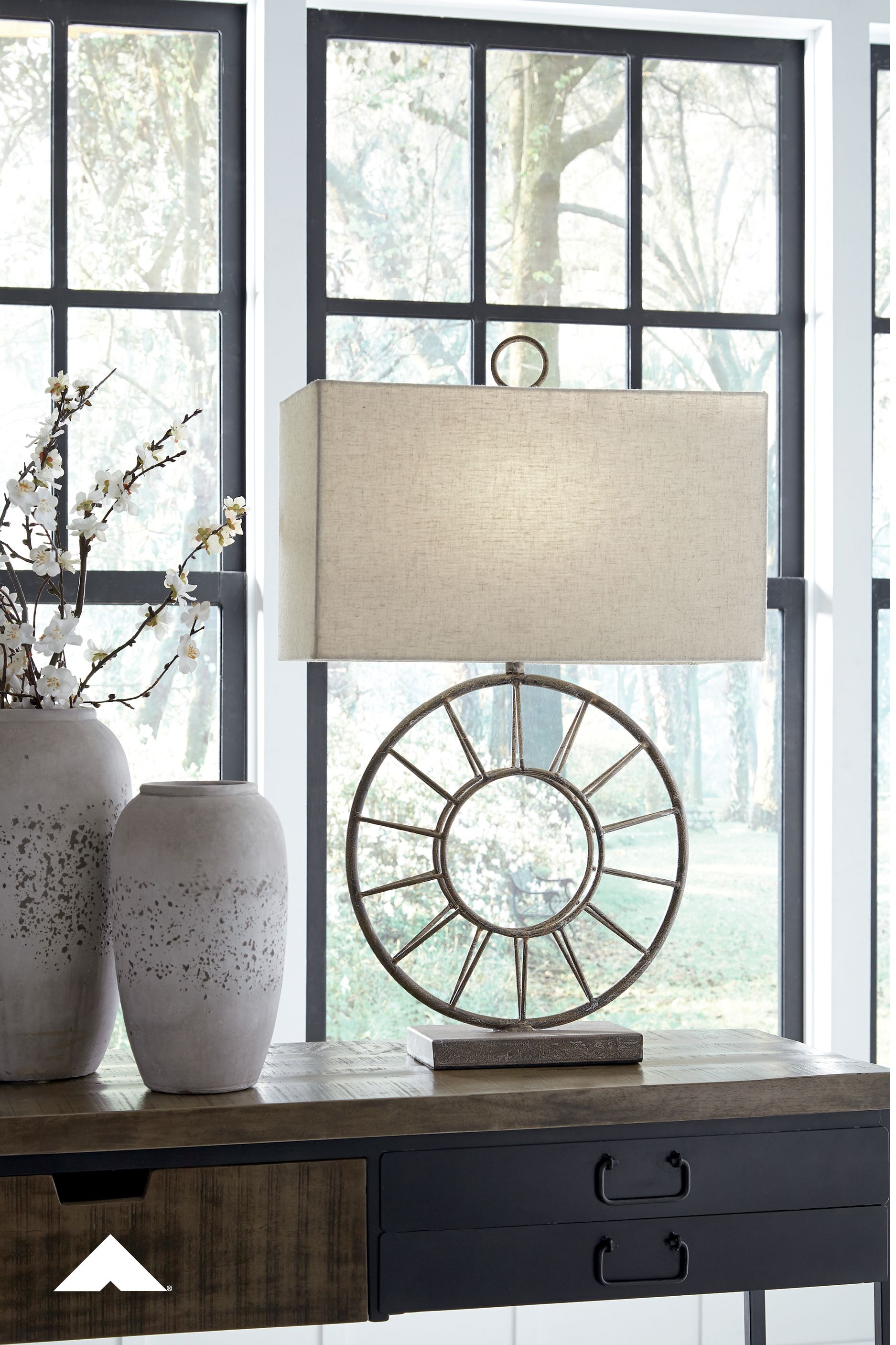 Vintage Furniture Glass Living Room Showcase Design Wood: Kavia Antique Brown Metal Table Lamp By Ashley Furniture