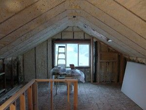 Attic With Insulation Facing South Spray Foam Insulation Spray Foam House Styles