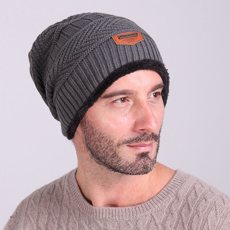 994a284ee2f Winter knitting woollen Solid warm cashmere knit Skullies hat outdoor men  and women thicker knitting hat Beanies. Tirain Men s Stylish Slouchy Knit  Beanie ...