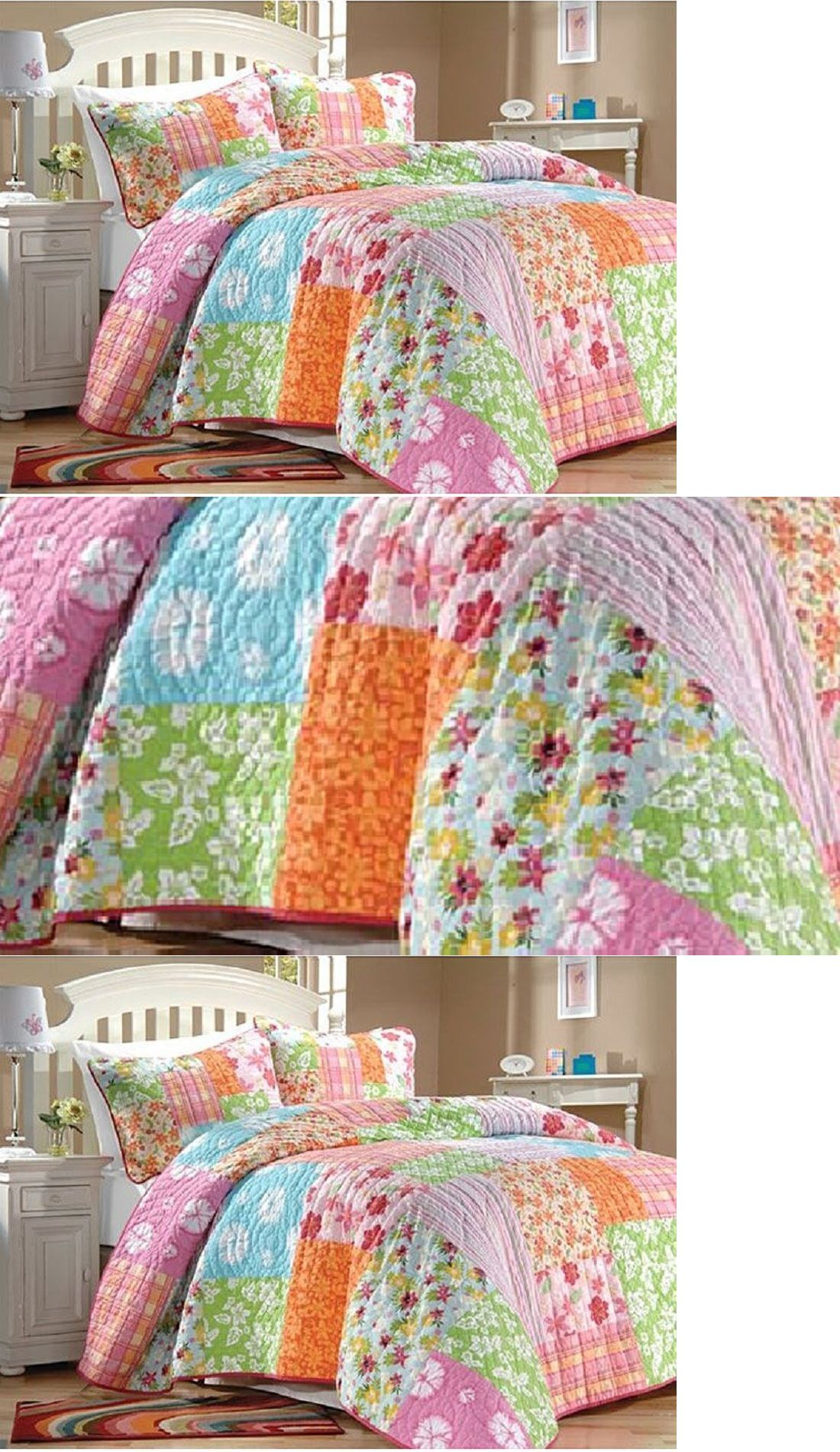 Kids at Home: Tropical Comforter Set Twin Quilt Pink Patchwork Floral  Island Teen Girls -