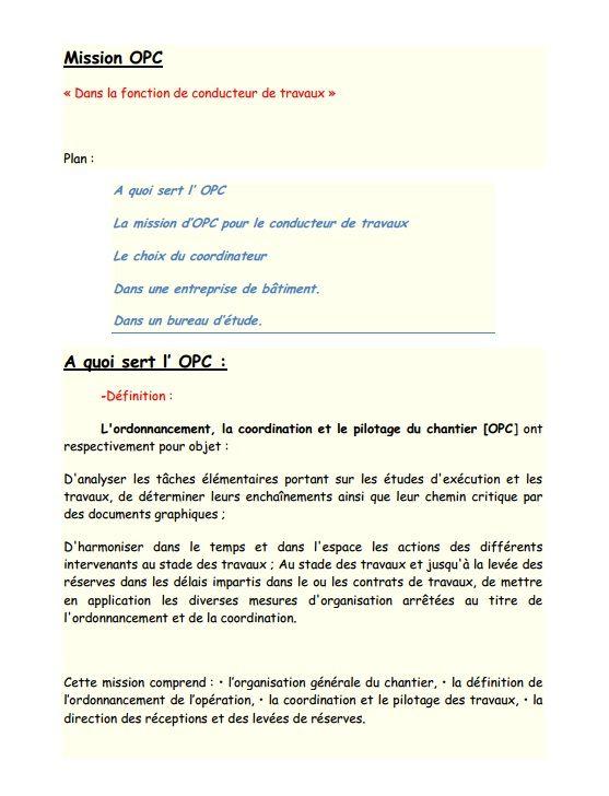 Resume Missions Opc Conducteur De Travaux Calcul Electrique Modele De Rapport