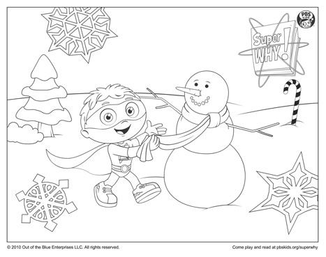 Free Printable Super Why Building A Snowman Coloring Page PBS SuperWhy Coloringpages