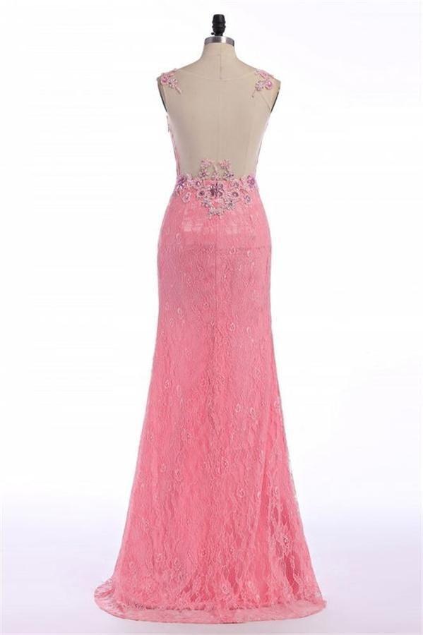 Applique Prom Dresses, Pink Sheath/Column Prom Dresses, Long Pink ...